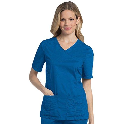 - Landau Pre-Washed Women's Mock Wrap Solid Scrub Top X-Small Royal Blue