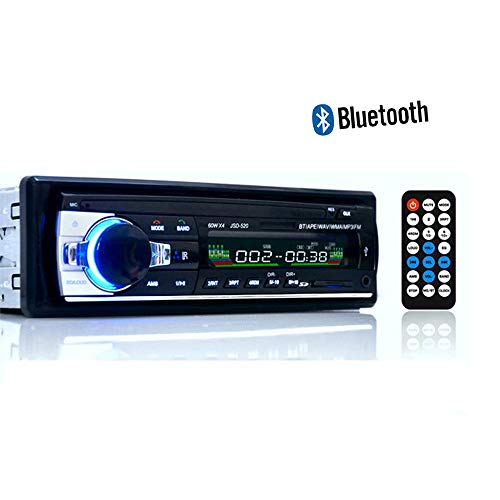 HM2 Bluetooth 12V Car Stereo Radio, FM Aux-in Input Receiver SD USB Car MP3 Multimedia Player, Supports Hands-Free Calls and Radio Function - Black