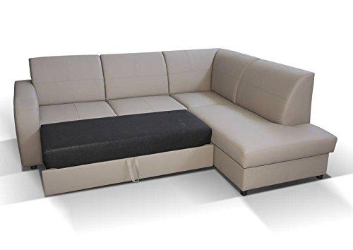 Polstermöbel Giovanna in braun mit Staukasten und Bettfunktion – Abmessungen: 245 x 200 cm (L x B) - Ottomane: Links