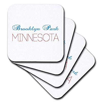3dRose Alexis Design - American Cities Kentucky-Nebraska - Brooklyn Park, Minnesota blue, red text. Patriotic home town design - Coasters