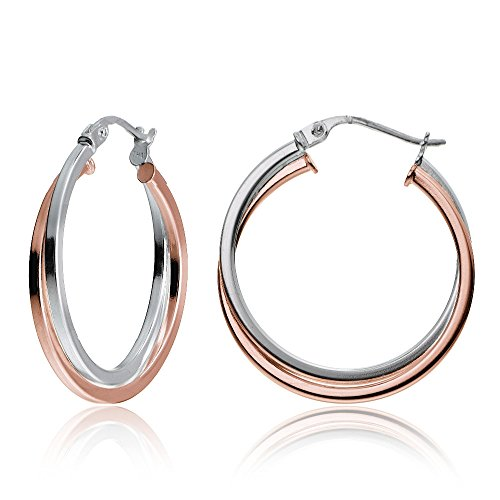 Two Rose Ring Tone (Hoops & Loops Rose Gold Flash Sterling Silver Two-Tone Intertwining Square-Tube Polished Hoop Earrings, 25mm)