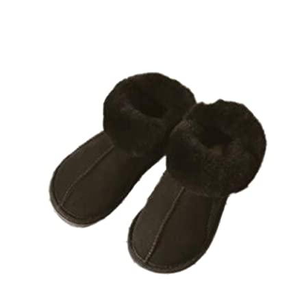 023d125fdefb Amazon.com  Female Winter Boots Slippers Genuine Leather Sheepskin Natural  Fur Women Warm Indoor Shoes Soft Wool Flats  Sports   Outdoors