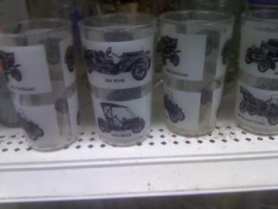 Set of 4 Vintage Automobile Drinking Glasses Antique Cars Glasses