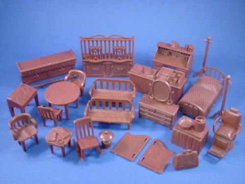 Cowboy Playset Western Furniture Set #1 24 Accessories with Bank Window, Bed, Barber Chair, Table, Chairs and more Collectible Retro Items 1/32 Scale Marx Recast Plastic Toy Soldiers Dollhouse (Furniture Banks)