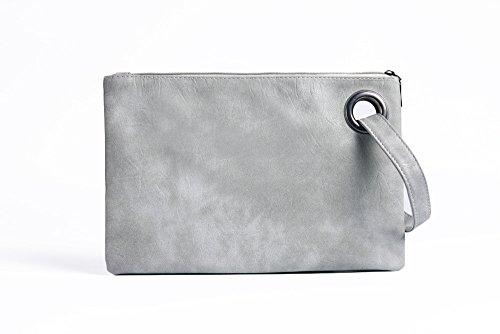 Meoaeo Light Grueso Bolso Azul Simple Retro Moda Mujer grey con Cremallera rXqrazw