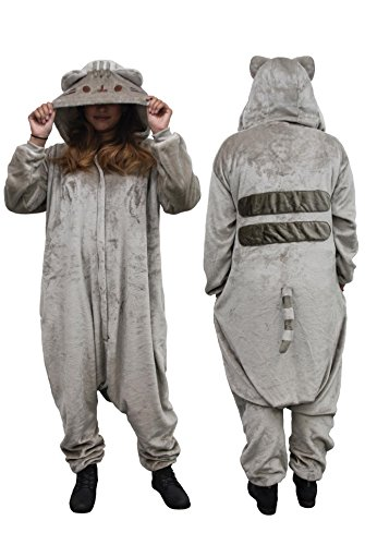 Pusheen Kigurumi Hooded One Piece Zip-up Suit, Multi, One Size
