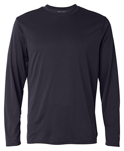 Champion Men's Long Sleeve Double Dry Performance T-Shirt, Navy, Large ()