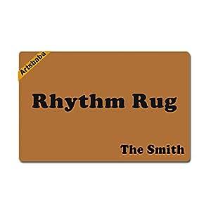 """Artsbaba Personalized Your Text Doormat Rhythm Rug Doormats Monogram Non-Slip Doormat Non-woven Fabric Floor Mat Indoor Entrance Rug Decor Mat 23.6"""" x 15.7"""""""