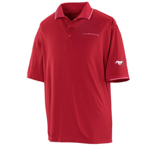 Genuine Ford Men's Mustang Red and White Polo Shirt - Size Large