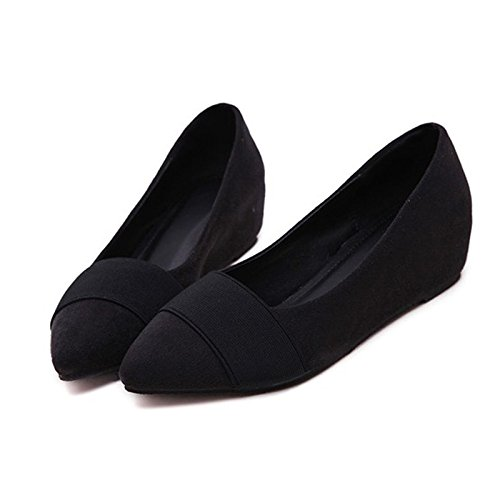 shallow shoes fashion work FLYRCX pointed comfortable middle mouth A ladies autumn heel wedge shoes and casual shoes Spring HBxpwqIa