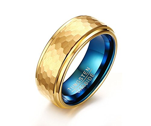 Mealguet Gold Plated/Blue Hammered Finished Tungsten Carbide Wedding Engagement Ring Bands, 8mm, size 10 ()