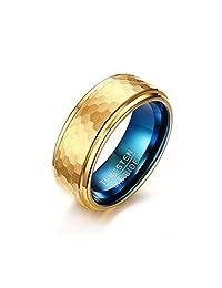 Mealguet Gold/Blue Hammered Finished Tungsten Carbide Wedding Engagement Ring Bands, 8mm