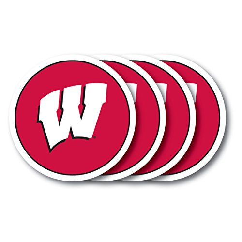 NCAA Wisconsin Badgers Vinyl Coaster Set (Pack of 4) by Duck House