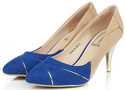Idifu Damesschitterende Contrasterende Midi Hakken Stiletto Pumps Slip Op Puntschoen Blauw
