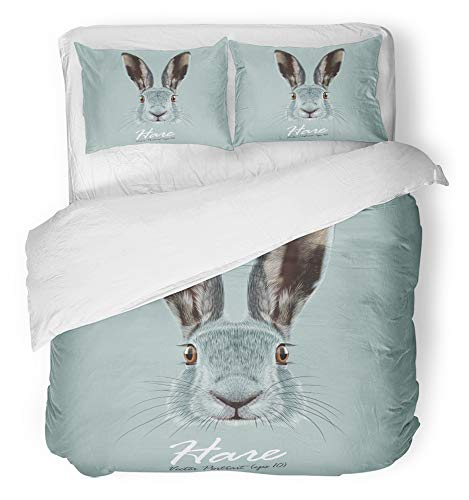 Emvency 3 Piece Duvet Cover Set Breathable Brushed Microfiber Fabric Easter Portrait of Hare Cute Face Wild on Blue Vintage Animal Bunny Nose Rabbit Bedding Set with 2 Pillow Covers Full/Queen Size
