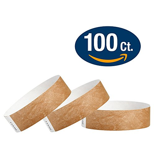"""WristCo Mocha 3/4"""" Tyvek Wristbands - 100 Pack Paper Wristbands For Events"""