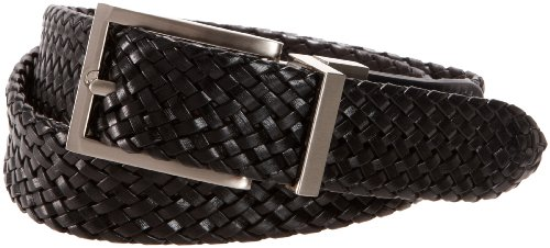 Sm Leather (Dockers Big Boys' Reversible Black To Brown Braided Belt With Brushed Nickel Finish Buckle,Brn/Blk,SM (waist 22 in - 24 in))