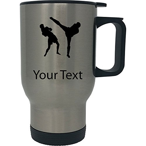 Personalized Custom Muay Thai 14 oz Silver Stainless Steel Customizable Travel Coffee Mug with Handle