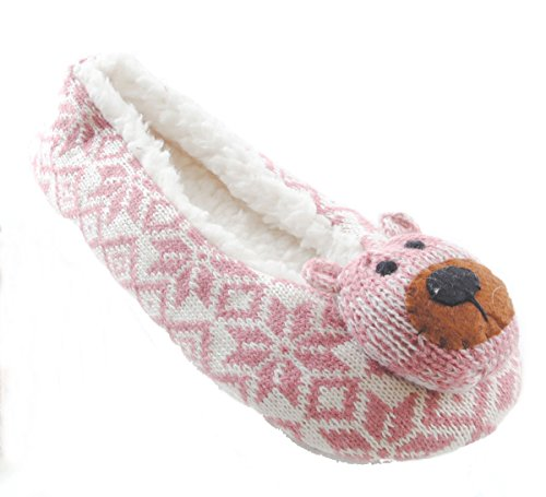 Ladies Knitted Pink/White Fair-Isle Ballet Slippers with Bears available in a selection of sizes