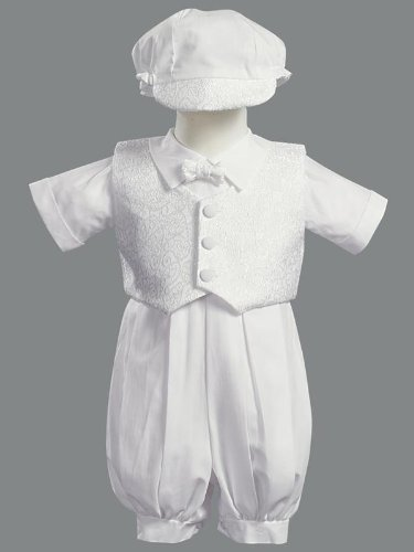 ALLEN Boys Baptism Christening Poly Cotton Romper Outfit with Waistcoat and hat (made in USA) sizes 0-3m 3-6m 6-12m 12-18m Price £40