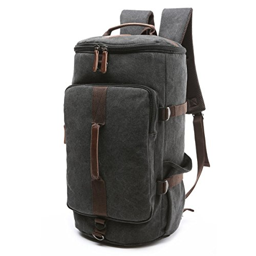 BAOSHA HB-26 3-Ways Vintage Canvas Men Holdall Weekend Travel Duffel Bag Backpack Messenger Shoulder Bags Convertible Travel Hiking Rucksack Weekender Overnight Bag Handbag (Black)