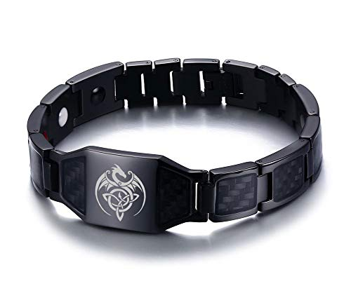 (VNOX Celtic Dragon Celtic Trinity Knot Triquetra Wing Dragon Magnetic Therapy Health Bracelet Balance Carbon Fiber Wristband Gift Jewelry for Men Dad)