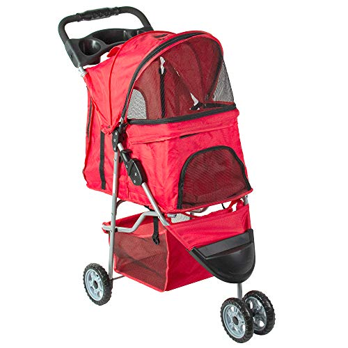 VIVO Red 3 Wheel Pet Stroller for Cat, Dog and More, Fordable Carrier Strolling Cart (STROLR-V003R)