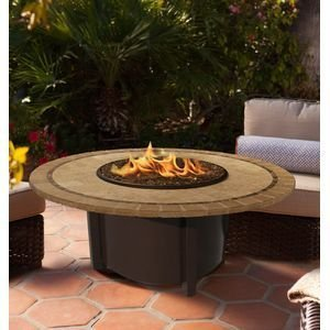 California Outdoor Concepts 5010-BR-PG11-CAP-48 Carmel Chat Height Fire Pit-Brown-Copper Reflective Glass-Capistrano Mosaic 48 in. Tile Top
