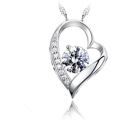 14k White Gold Heart Pendant (14K White Gold Overlay 925 Sterling Silver Forever Lover Heart Pendant)