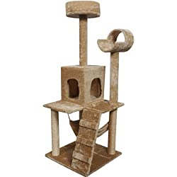 "Goplus 52"" Cat Kitty Tree Tower Condo Furniture Scratch Post Pet Home Bed Beige"