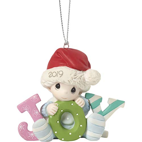Precious Moments Baby's First Christmas 2019 Dated Bisque Porcelain Boy 191006 Ornament, One Size, Multi (First Babys Precious Moments Ornament)