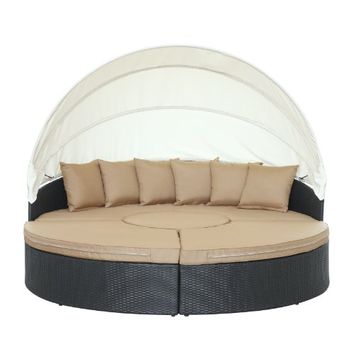 Lexington Daybed - Modway Quest Circular Outdoor Wicker Rattan Patio Daybed with Canopy in Espresso Mocha