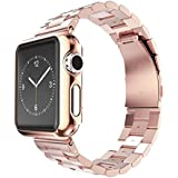 Apple Watch Band, Creazy® Stainless Steel Strap Watch Band+Adapter+Case Cover for Apple Watch 42mm (Rose Gold)