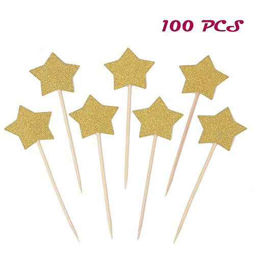 Cake Birthday Star (Finico 100 PCS Gold Star Cupcake Toppers,Little Star Decorations Birthday Cupcake Toppers,Star Cupcake Toppers,Star Cake Decor,Gold Cupcake Toppers,Cake Toppers Cupcake Gold)