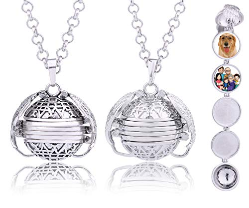 - 2pcs Antique Silver White Gold Tone Expanding Foldable Personalized Custom Photo Pendant Wings Necklace Locket 18mm Pictures Frame 4 Four (11612)