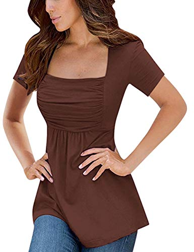 Yesfashion Womens Square Neck Ruched Tops Empire Waist Tunics Short Sleeve Coffee S