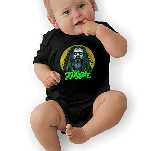 David M Sweet Rob Zombie Unisex Baby's Climbing Clothes Bodysuits Romper Short Sleeved Light for 0-24 Months Black