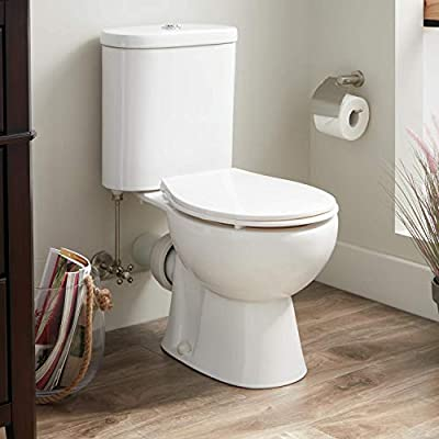 Signature Hardware Burdett 1.6/0.8 GPF Two Piece Elongated Toilet with Rear Outlet - Seat Included