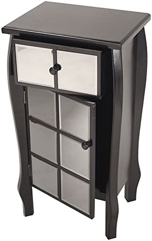 Heather Ann Creations Bombe Style Single Drawer Accent Cabinet Console with Front Square Panel Smoked Mirrored Accents, 32.7 x 17.3 , Black