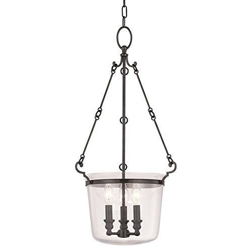 (Hudson Valley Lighting Quinton 3-Light Pendant - Old Bronze Finish with Clear Glass Shade)