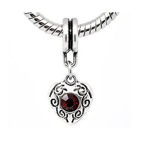 Rhinestone Heart Dangle Bead Charm For Snake Chain Bracelets (Select Your Color) (Ruby Bracelet Slide)