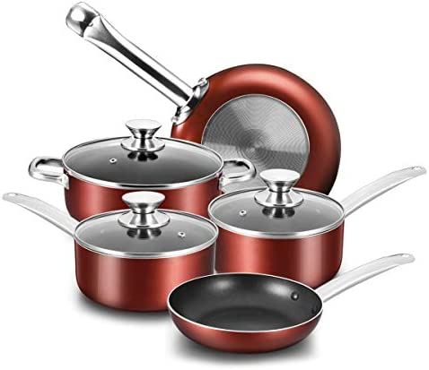 COOKER KING Nonstick Pots and Pans Set, 8 Piece Nonstick Cookware Set Saucepans and Dutch oven with Glass Lids, Oven Safe, Dishwasher Safe, Glitter Dark Red