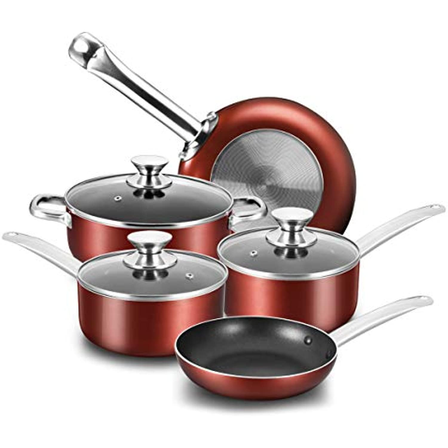 COOKER KING Nonstick Cookware Set, 8-Piece Nonstick Pots and Pans Set with Glass Lids, Baking Sets, Cooking Pots Set, Oven Safe, Red