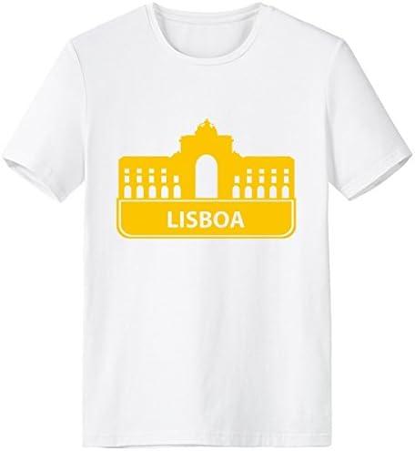 DIYthinker Lisboa Portugal Landmark Amarillo Escote De Patrón De La Camiseta Blanca Primavera Y El Verano De Tagless La Comodidad del Algodón Se Divierte Las Camisetas: Amazon.es: Deportes y aire libre