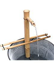 """Bamboo Accents Water Fountain with Pump, Backyard Pond Kit, Large 18"""" Adjustable Style, Smooth Split-Resistant Bamboo, DIY Zen Bamboo Fountain"""