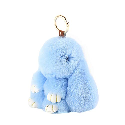 YISEVEN Stuffed Bunny Keychain Toy - Soft and Fuzzy Large Stitch Plush Rabbit Fur Key Chain - Cute Fluffy Bunnies Floppy Furry Animal Easter Basket Stuffers Gifts Women Bag Charm Car Pendant - Blue ()