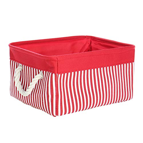 uxcell Storage Basket Bin with Cotton Handles,Collapsible Laundry Basket for Toy Clothes Storage,Canvas Fabric Basket for Closet,Red (Medium -15.7