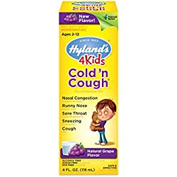 Hyland's 4 Kids Cold 'n Cough-Grape Flavored Relief Liquid, Natural Relief of Common Cold, 4 Ounces