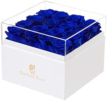 Eterfield Preserved Roses That Last a Year Eternal Rose in a Box Real Rose Without Fragrance Gift for Her (Royal Blue Roses, Square White Box)