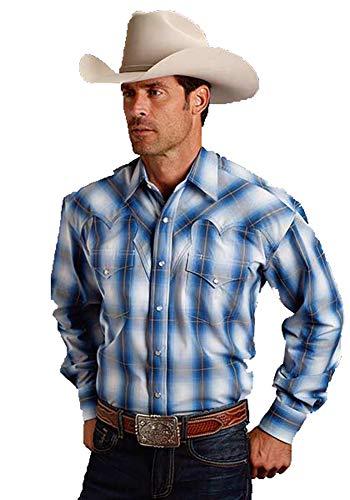 - Stetson Men's Blue Large Plaid Long Sleeve Western Shirt Blue Medium